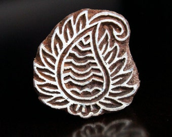 ON SALE Hand Carved Indian Wood Textile Stamp Block- Paisley