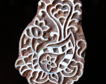 ON SALE Hand Carved Indian Wood Textile Stamp Block- Stylized Peacock