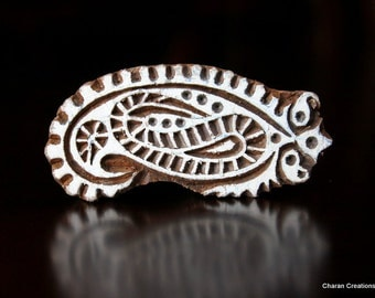 ON SALE Hand Carved Indian Wood Textile Stamp Block- Paisley Motif