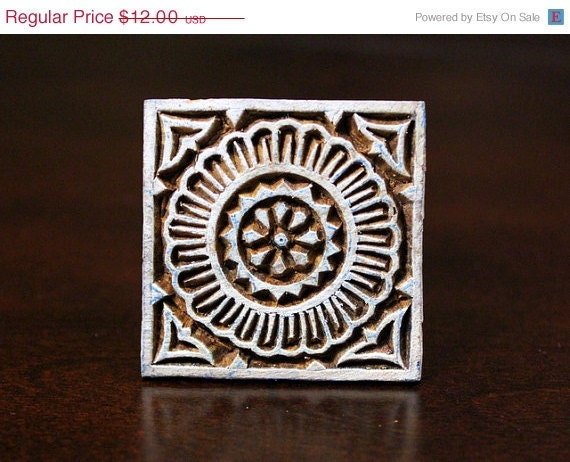 Hand Carved Indian Wood Stamp Block -Geometric Patterned Square Motif