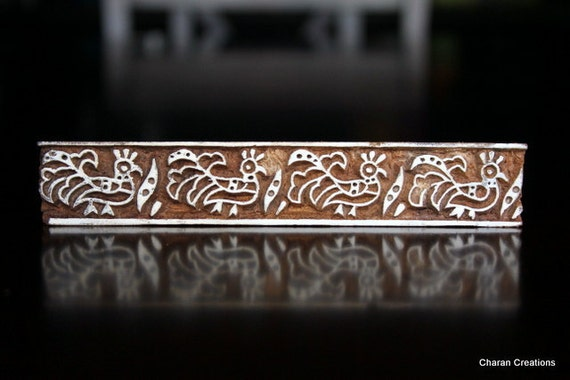 Hand Carved Indian Wood Textile Stamp Block- Roosters Border