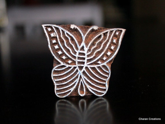 Hand Carved Indian Wood Textile Stamp Block- Butterfly (REDUCED)