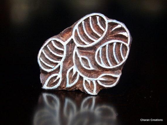 Hand Carved Indian Wood Textile Stamp Block- Olives