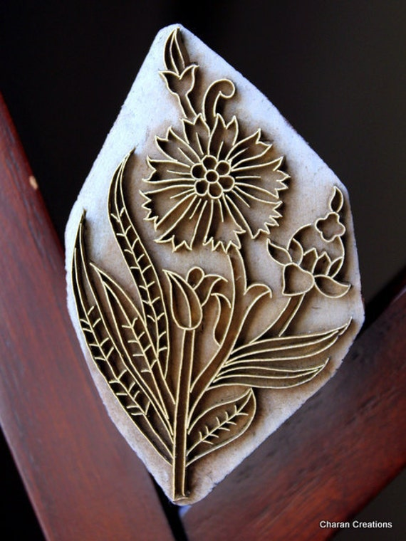 Handmade Indian Wood and Brass Textile Stamp- Floral Motif