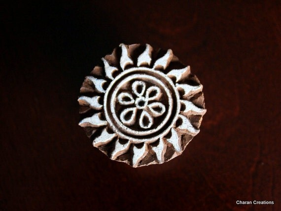 Hand Carved Indian Wood Textile Stamp Block- Round Flower/Sun Motif (REDUCED)