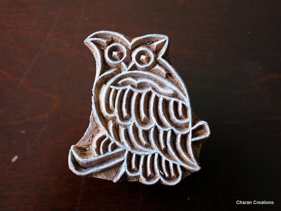 Hand Carved Indian Wood Textile Stamp Block- Owl