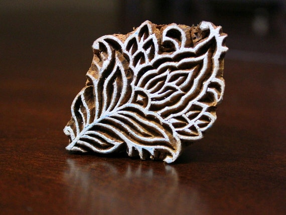 Hand Carved Indian Wood Textile Stamp Block- Stylized Flower