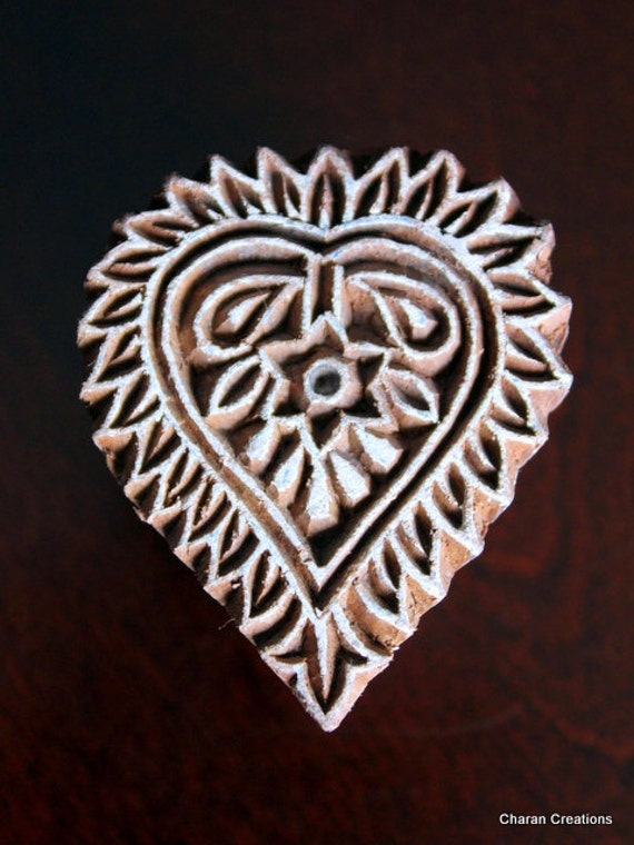 Hand Carved Indian Wood Textile Stamp Block- Heart Floral Motif (Reduced)