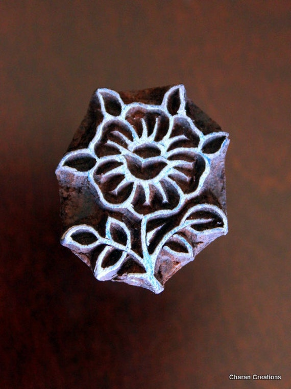 Hand Carved Indian Wood Stamp Block - Small Flower Motif