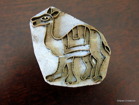 Handmade Indian Wood and Brass Textile Stamp- Camel (REDUCED)
