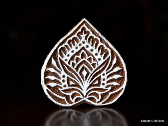 Hand Carved Indian Wood Textile Stamp Block- Heart (REDUCED)