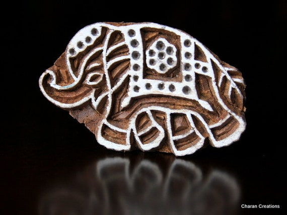 Hand Carved Indian Wood Textile Stamp Block- Traditional Indian Elephant
