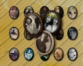 Victorian Zombie Collage Vintage 30x40mm oval Gothic Printable Digital Collage Sheet