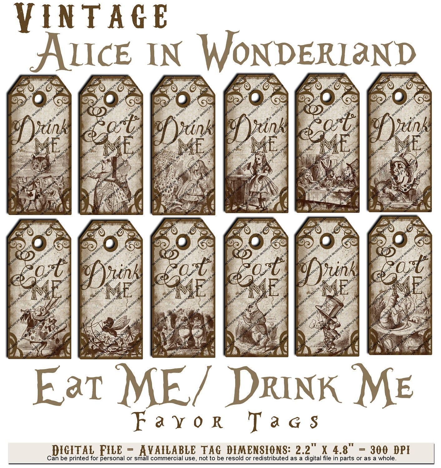 Items similar to alice in wonderland vintage eat me drink for Alice in wonderland tags template