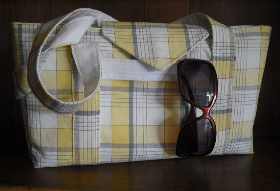 Ready to Ship, Sunny Yellow Plaid Purse, by Yvettemariesfineart