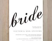 Cursive Bridal Shower Printable invitation