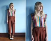 vintage silk multi-colored stripe crop top