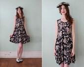 vintage 1990's black mixed floral skater dress