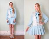 SALE / vintage 1960's pale blue mini dress with matching brocade vest / size s