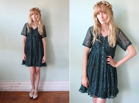 1990's forest green lace babydoll dress