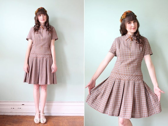 SALE / vintage 1960's blue & caramel gingham drop-waist day dress
