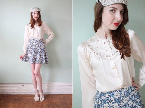 vintage 1980's cream silk blouse with cutout floral detail / size s - m
