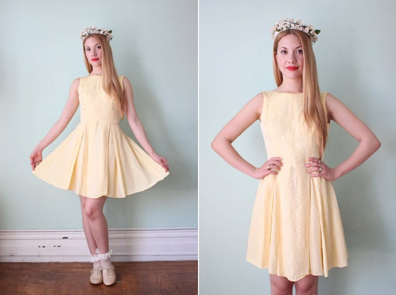 vintage 1950's pale yellow floral brocade mini dress with low back / size xs - s