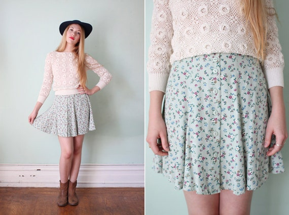 vintage 1990's mint green floral button-up mini skirt / size s