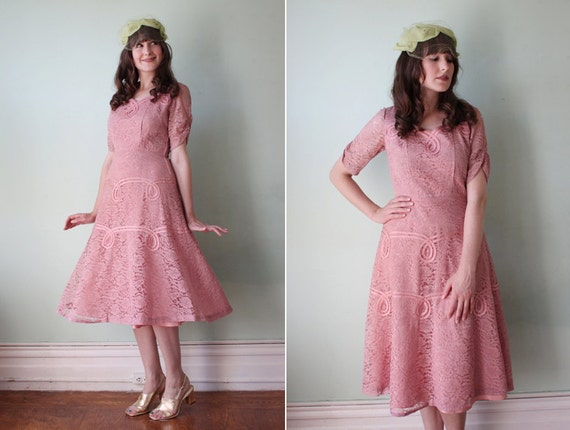 RESERVED vintage 1950's mauve pink lace party dress with full skirt / size m