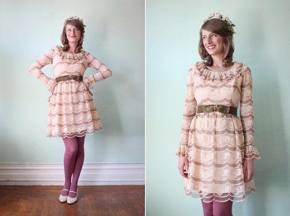 vintage 1960's pale pink & mauve lace party dress with velvet bow / size xs
