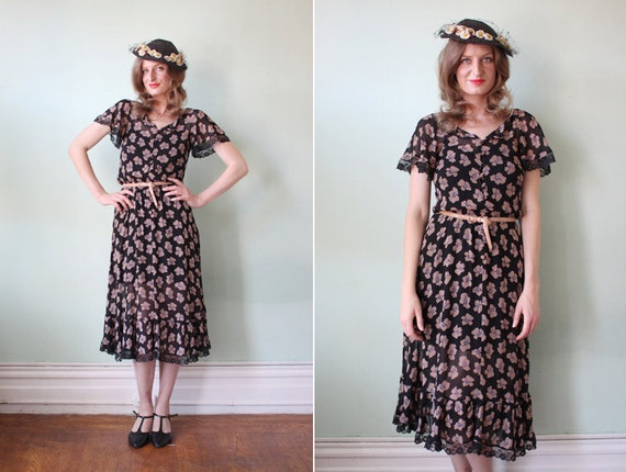 vintage 1970's sheer black silk floral dress with lace trim / size xs - s