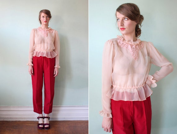 vintage 1950's pale pink sheer peplum blouse with ruffled trim / size s - m