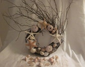 BEACH decor sugar starfish   shells  wreath with white starfish and beach glass