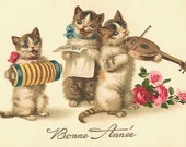 Funny Handprinted Cotton Art Reproduction Applique Poster Vintage Cats/Kittens playing Music Postcard Bonne Annee