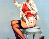 "PINUP print- Cotton Sheet- Quilt Block-Art Applique Vintage-Perfect for framing - Sexy Pin-up Girl Gil Elvgren ""A stitch in time"" , 1957"