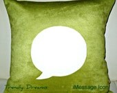 Free US shipping Unique Designer 16x16 Celery Suede Pillow Cover with iMessage Icon Applique