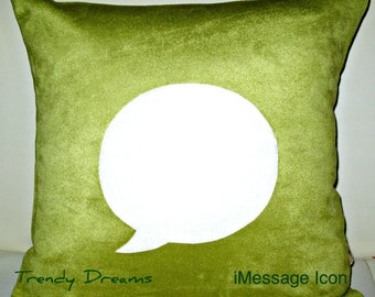 Icon Pillow-Computer pillows-Unique Designer 16x16 Celery Suede Pillow Cover with iMessage Icon Applique
