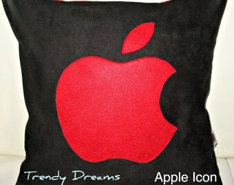 Home decor-Pillows-Cushions- Social networks-Modern  Designer 16x16 Faux Suede Red and Black Pillow Cover with  Apple  Icon  Applique
