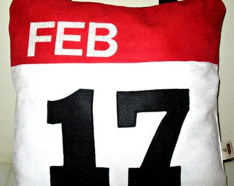 "Unique Designer 14x14"" White, Red and Black Faux Suede  Pillow Cover with Insert iCal Icon  Applique You Can Order Any Date"
