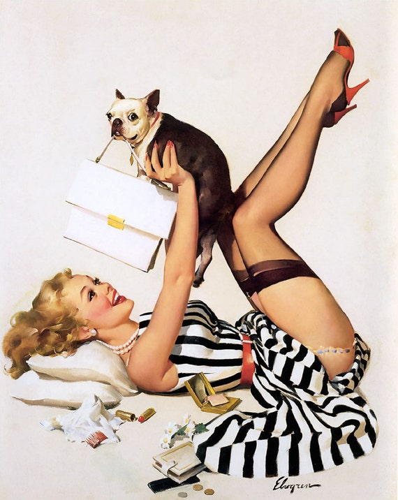 "Handprinted Cotton Art Reprodn Applique Vintage Sexy Pin-up Girl Gil Elvgren ""Lucky dog"" , 1958"