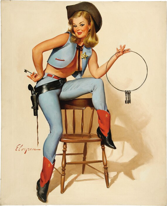 """PINUP print-Cotton  Sheet- Quilt Block- Applique Vintage-Perfect for framing for sewing- Pin-up Girl Gil Elvgren, """"A key situation"""", 1967"""