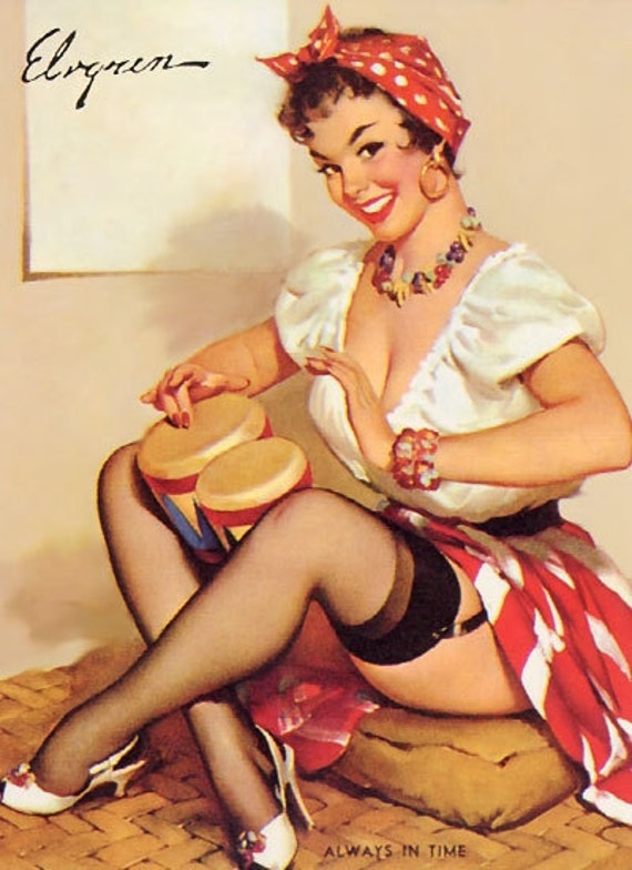 """PINUP prints-Cotton Sheet-Quilt Block- Applique Vintage-Perfect for framing and sewing- Sexy Pin-up Girl Gil Elvgren """"Always in Time"""" , 1960"""