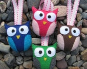 Four Felt Owl Ornaments Party Favors for Birthday or Baby Shower