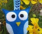 Blue Felt Owl Keychain