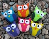 Six Felt Owl Ornaments- Party Favors for Birthday or Baby Shower