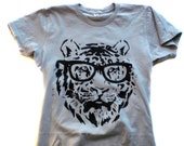 TIGER GEEK GLASSES tshirt  funny geek tee men women alternative apparel t shirt small medium large extra large