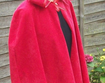 Little Red Riding Hood Cape cloak for Adult also available in black white pink blue green purple brown