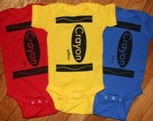 Primary Colors Box of Crayons Onesies Red Yellow and Blue