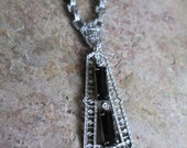 1910s-1920s Black and Rhodium Filigree Necklace.  Art Deco beauty.