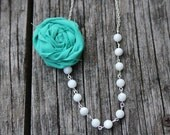 Teal Fabric Flower Necklace
